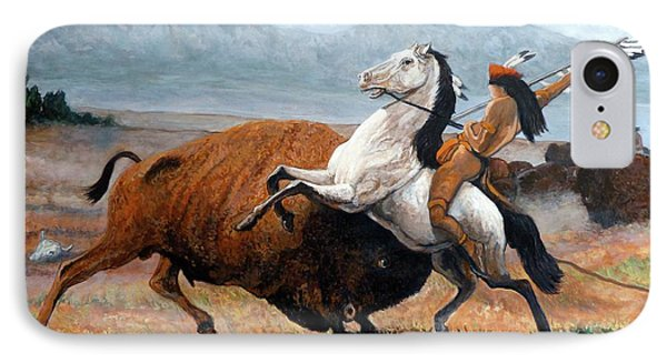 Buffalo Hunt IPhone Case by Tom Roderick
