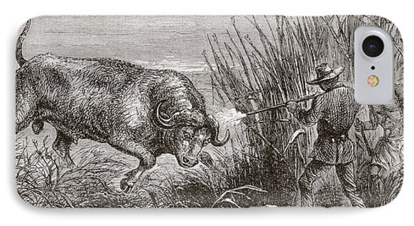 Buffalo Hunting In Africa In The 1860 IPhone Case by Vintage Design Pics