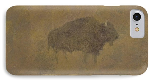 Buffalo In A Sandstorm Phone Case by Albert Bierstadt
