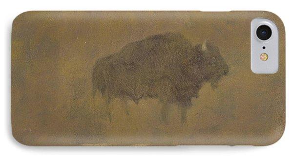 Buffalo iPhone 7 Case - Buffalo In A Sandstorm by Albert Bierstadt