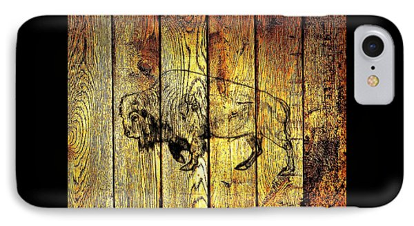 IPhone Case featuring the photograph Buffalo On Barn Wood by Larry Campbell
