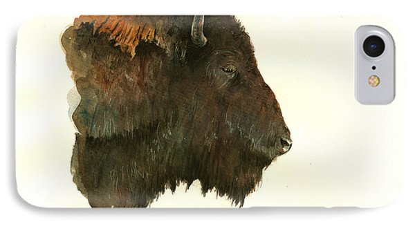 Buffalo Portrait Head IPhone Case by Juan  Bosco