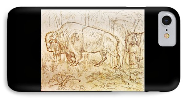 IPhone Case featuring the drawing Buffalo Trail  by Larry Campbell