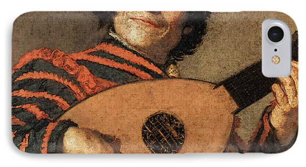 Buffoon Playing A Lute  IPhone Case by Frans Hals