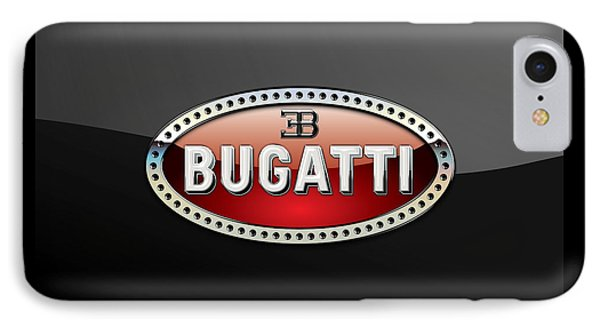 Bugatti - 3 D Badge On Black IPhone Case by Serge Averbukh