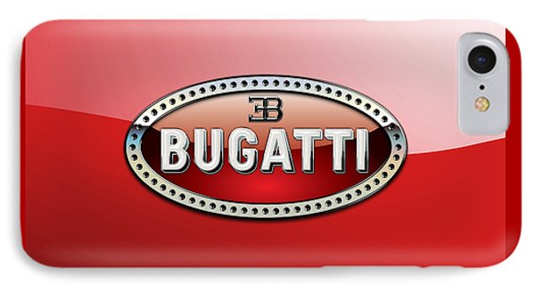Bugatti - 3 D Badge On Red IPhone Case by Serge Averbukh