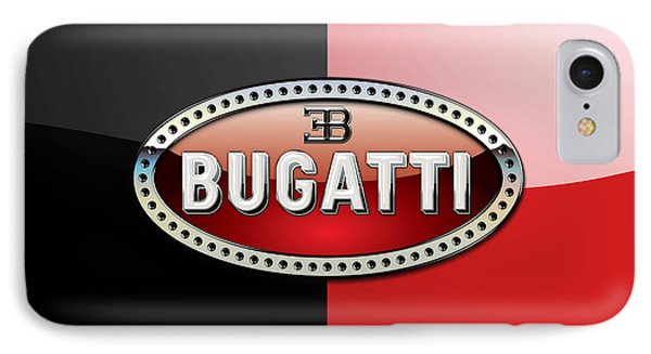 Bugatti 3 D Badge On Red And Black  IPhone Case by Serge Averbukh
