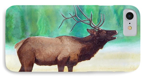 IPhone Case featuring the painting Bugling Elk by Sherril Porter
