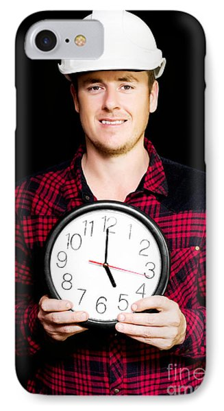Builder With Clock Showing Home Time Phone Case by Jorgo Photography - Wall Art Gallery