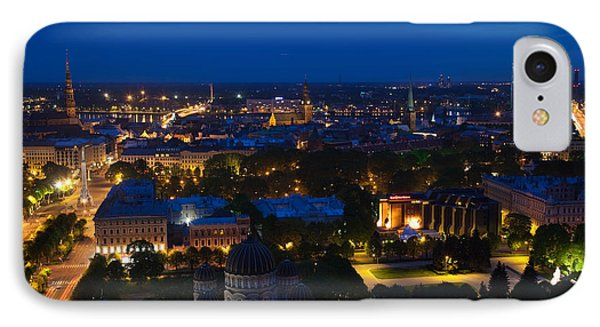 Buildings Lit Up At Dusk, Vecriga, Old IPhone Case by Panoramic Images
