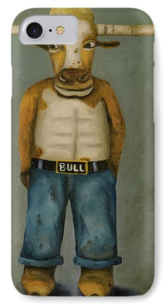 Bull Denim IPhone Case by Leah Saulnier The Painting Maniac
