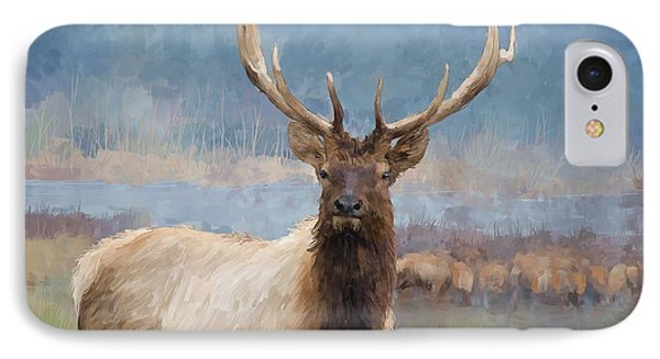 Bull Elk By The River IPhone Case by Debra Baldwin