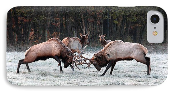 IPhone Case featuring the photograph Bull Elk Fighting In Boxley Valley by Michael Dougherty