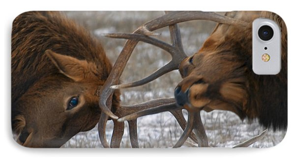 Bull Elk In The Rut-signed IPhone Case by J L Woody Wooden