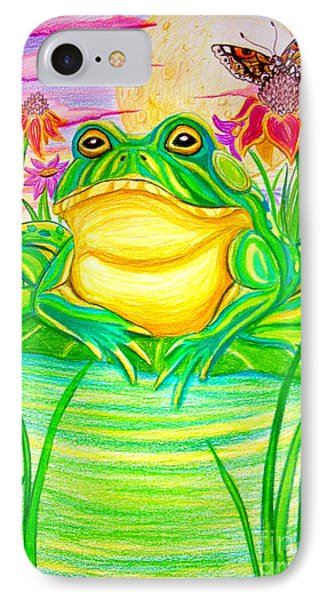Bull Frog And The Moon Phone Case by Nick Gustafson