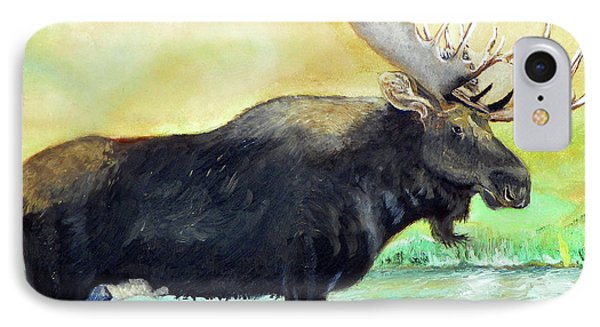 IPhone Case featuring the painting Bull Moose In Mid Stream by Sherril Porter