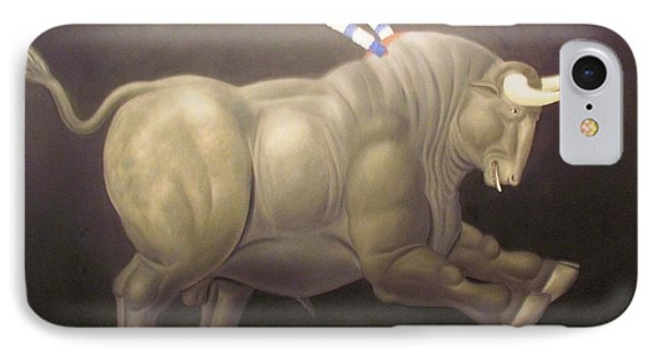 bull painting Botero IPhone Case by Ted Pollard