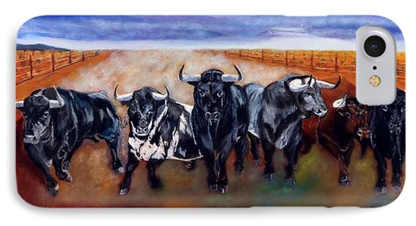 Bull Stampede IPhone Case by Manuel Sanchez
