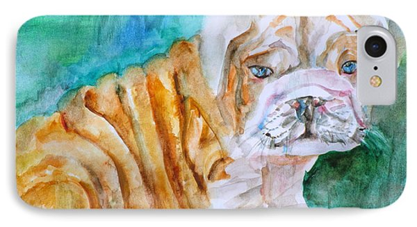 IPhone Case featuring the painting Bulldog Cub  - Watercolor Portrait by Fabrizio Cassetta