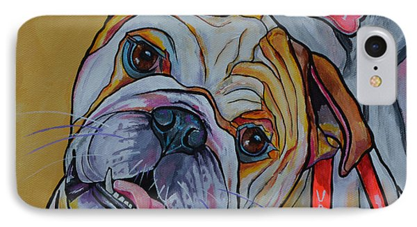 IPhone Case featuring the painting Bulldog by Patti Schermerhorn