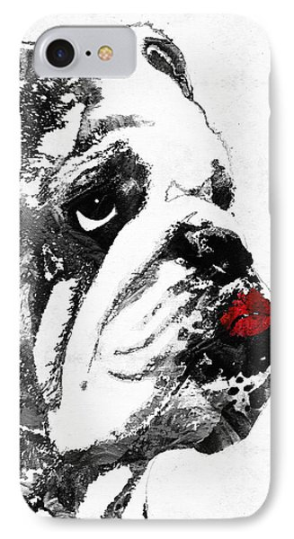Bulldog Pop Art - How Bout A Kiss 2 - By Sharon Cummings IPhone Case by Sharon Cummings