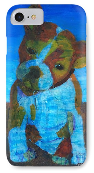 IPhone Case featuring the painting Bulldog Puppy by Donald J Ryker III