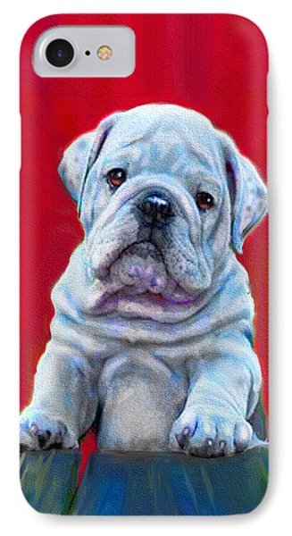 IPhone Case featuring the digital art Bulldog Puppy On Red by Jane Schnetlage