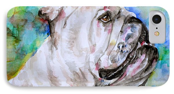 IPhone Case featuring the painting Bulldog - Watercolor Portrait.4 by Fabrizio Cassetta