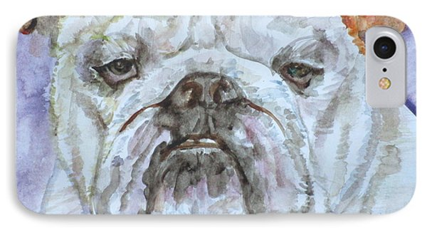 IPhone Case featuring the painting Bulldog - Watercolor Portrait.5 by Fabrizio Cassetta