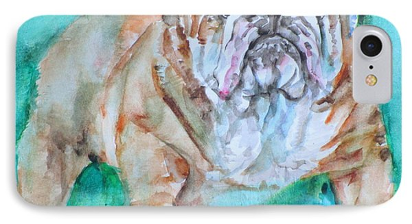 IPhone Case featuring the painting Bulldog - Watercolor Portrait.6 by Fabrizio Cassetta