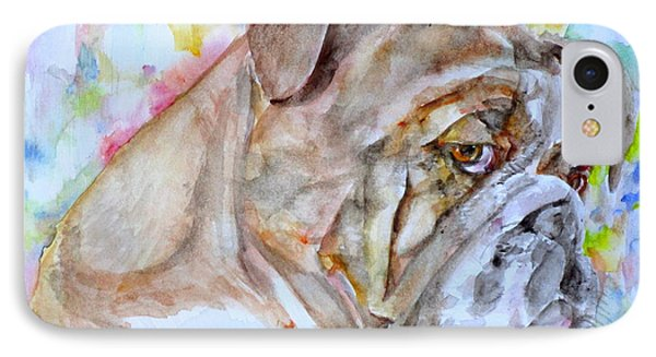 IPhone Case featuring the painting Bulldog - Watercolor Portrait.7 by Fabrizio Cassetta