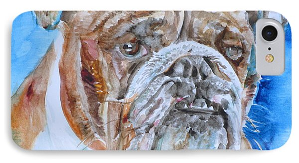IPhone Case featuring the painting Bulldog - Watercolor Portrait.8 by Fabrizio Cassetta