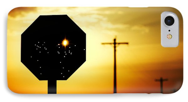 Bullet-riddled Stop Sign IPhone Case by Todd Klassy