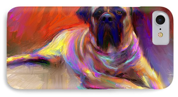 Bullmastiff Dog Painting IPhone Case by Svetlana Novikova