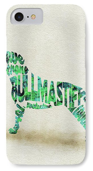 IPhone Case featuring the painting Bullmastiff Watercolor Painting / Typographic Art by Ayse and Deniz