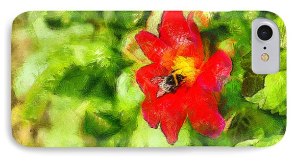 Bumblebee On The Flower - Pa IPhone Case by Leonardo Digenio