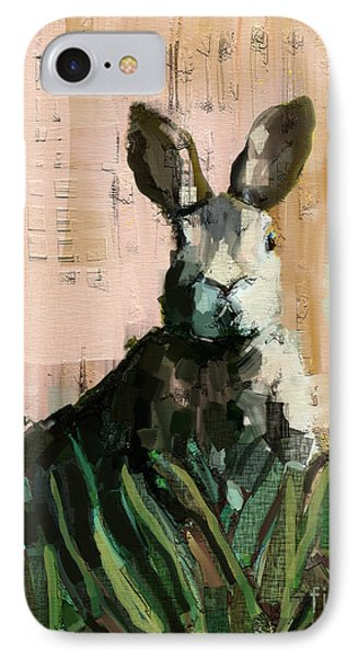 IPhone Case featuring the mixed media Bunny by Carrie Joy Byrnes