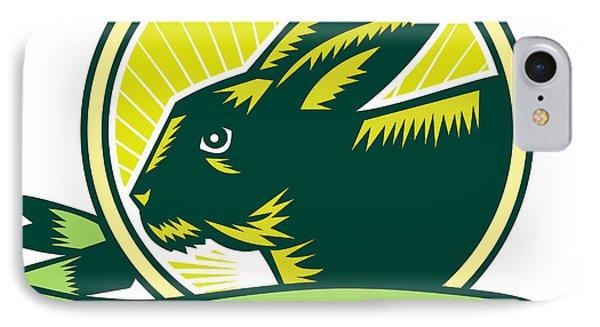 Bunny Head Circle Ribbon Woodcut IPhone Case by Aloysius Patrimonio