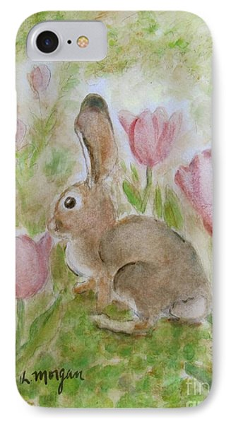 Bunny In The Tulips IPhone Case by Laurie Morgan