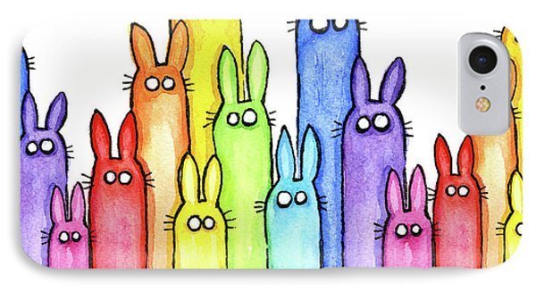 Bunny Rainbow Pattern IPhone Case by Olga Shvartsur