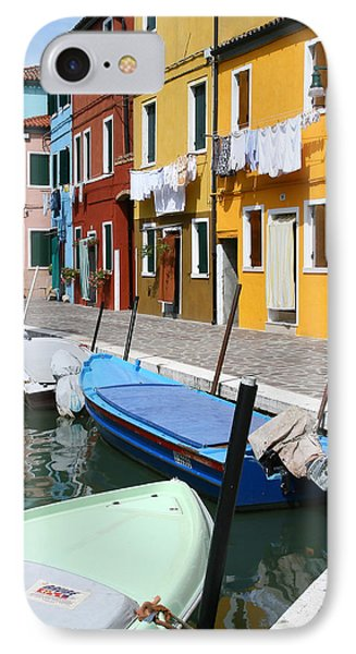Burano Corner With Laundry IPhone Case by Donna Corless
