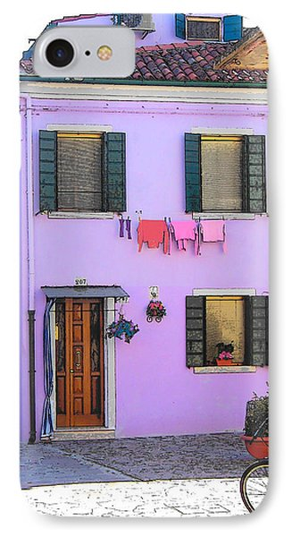 Burano Italy - The Purple House IPhone Case by Jan Matson