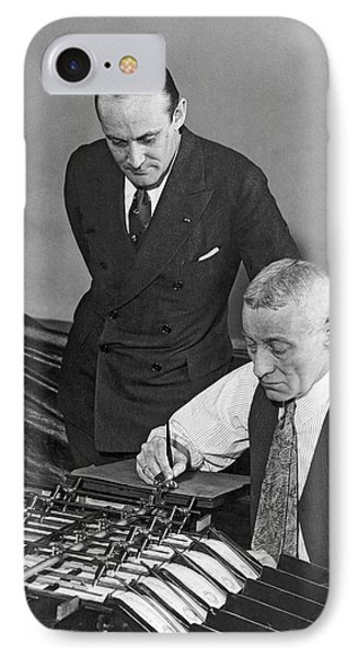 Bureau Check Signing Machine IPhone Case by Underwood Archives