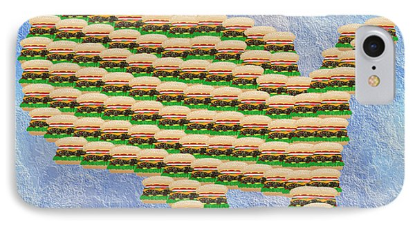Burger Town Usa Map Phone Case by Andee Design