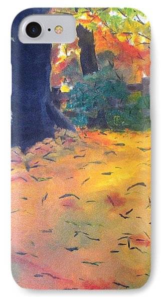 IPhone Case featuring the painting Buried In Autumn Leaves by Gary Smith