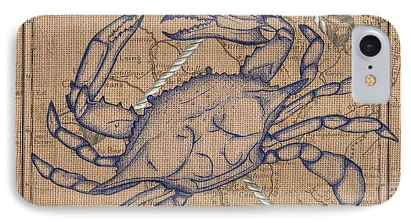 Burlap Blue Crab IPhone Case by Debbie DeWitt