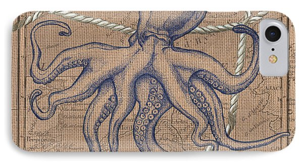 Burlap Octopus IPhone Case by Debbie DeWitt