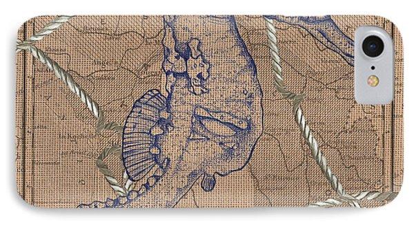 Seahorse iPhone 7 Case - Burlap Seahorse by Debbie DeWitt