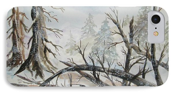 IPhone Case featuring the painting Burned Forest In The Snow by Ellen Levinson