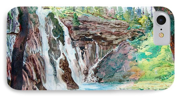 IPhone Case featuring the painting Burney Falls by John Norman Stewart